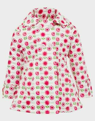 Minoti Girls Flower Print Vinyl Fleece Lined Rain Mac Age 1 - 2 Years New