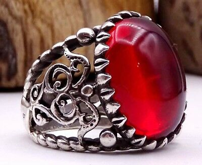 Turkish Jewelry RUBY RED STONE 925 Sterling Silver Mens  Ring US ALL SİZE code9