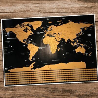 World Map Scratchable Travel Maps Waterproof Large Worlds Poster Home Wall Decor