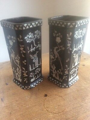 Pair Antique c19th Chinese Black Lacquer Vases Mother of Pearl inlay Exotic Bird