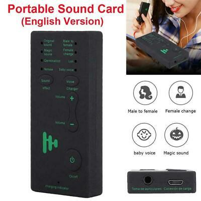 Portable Mini Voice Changer Live Broadcast Sound Card For Mobile Phone PC AU HOT