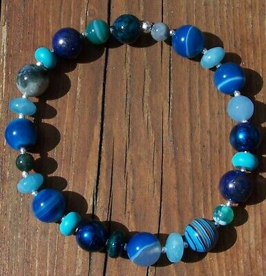 """MIXED BLUE GEMSTONES & SOLID 925 STERLING SILVER 2 mm BEADS FOR A 7"""" WRIST"""