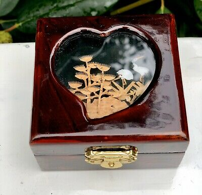 Oriental Vintage Bird Cork Diorama Jewellery Heart Love Trinket Box