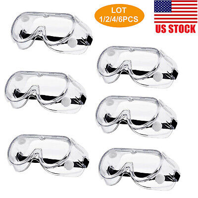 Clear Safety Goggles Glasses Anti Fog Splash Resistant Work Lab Eye Protection