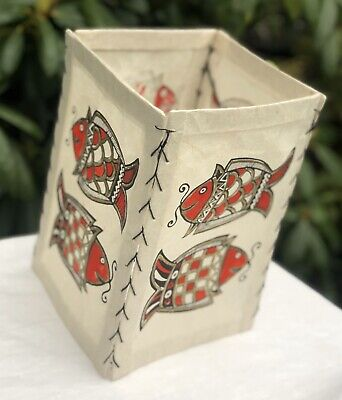 Oriental Chinese Red Fish Design Hand Painted Vintage Lantern Lamp Shade