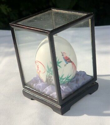 Oriental Hand Painted Egg Glass Dome Diorama Bird Design Ornament Sculpture