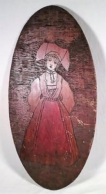 """Antique 23""""X 11"""" Hand Carved Wooden Pennsylvania Dutch Girl Wall Plaque"""