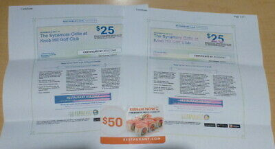 (2) $25 Restaurant Gift Certificate Sycamore Grille N.J. Plus $50 Gift Card