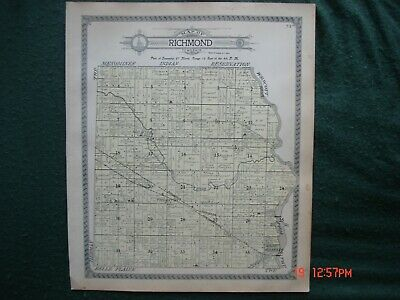 1911 Plat Map Richmond Township Shawano County Wisconsin Red River Wi Thornton