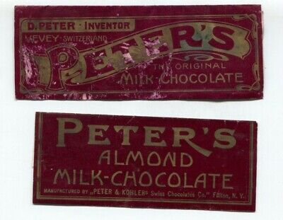 2 Antique 1910 era Peters Milk Chocolate Candy Bar full wrappers Fulton New York