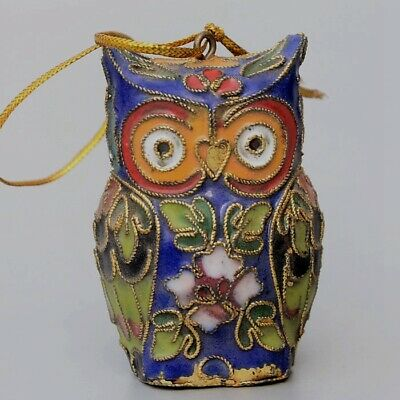 Collectable China Old Cloisonne Hand-Carved Lovely Owl Delicate Decorate Statue