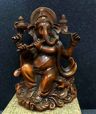 Collectable China Old Boxwood Hand-Carved Elephant Buddha Buddhism Decor Statue