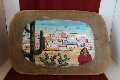 VTG Hand Carved Wood Trencher Dough Bowl Hand Painted Saguaro Cactus