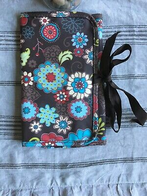 Thirty-one 31 NOTE BAD ORGANIZER BROWN WHIMSICAL FLOWERS
