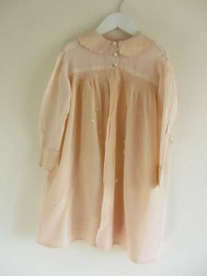 Antique peach silk childs coat study collectors smocking