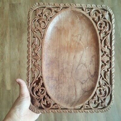 Thai Teak Wood handcarved Tray Vintage Fruit Kitchen Table Decor Collectible 12""