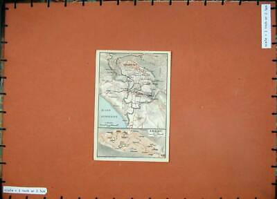 Original Old Antique Print 1912 Colour Map Italy Girgenti Street Plan Africano