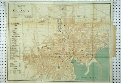 Original Old Antique Print 1912 Italy Colour Map Street Plan Pianta Cantania