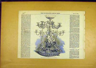 Original Old Antique Print Candelabra Silver Crown Prince Sweden 1850 Victorian