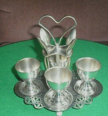 vintage Mango -  electro plated Egg Cup Cruet + four egg cups and spoons