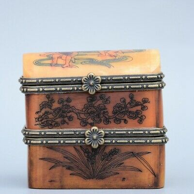 Collectable China Old Boxwood & 0x B0rn Hand-Carved Fairchild & Fish Jewel Box