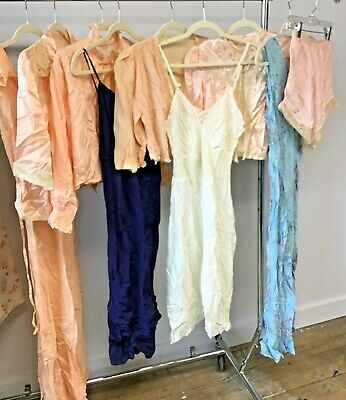 VTG 1930's-40's 9 Pieces Lot of  Negligees, Slips, Bed Jackets  Silk Rayon Satin