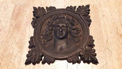 Antique Small Victorian Cast Iron Plaque Medallion Of Young Pretty Woman