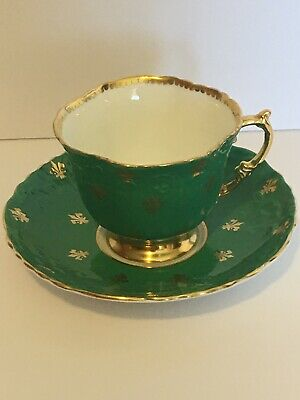 Antique Vintage Aynsley green gold tea cup teacup and saucer
