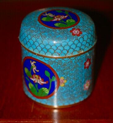 Antique Chinese Turquoise Blue Cloisonne Enamel Round Covered Box Jar