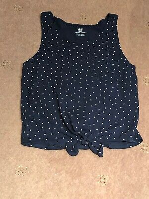 H&M Polka Dot Blue Vest Age 12-14 Years Crop Tie Front