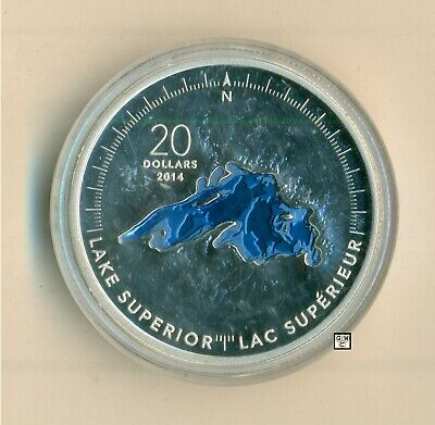 2014 'Lake Superior-Great Lakes' Blue Enameled Proof $20 Pure Silver (13331)OOAK