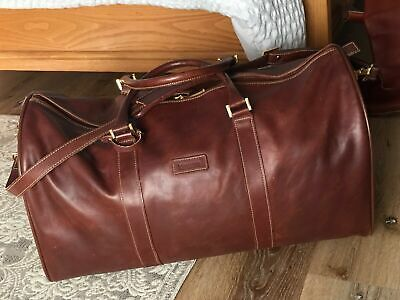 Hartmann Brown Leather Large Duffle Bag Carry On Case Luggage w Shoulder Strap