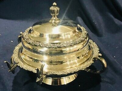 meridian and co quadruple plate lidded  rounded butter server with side holder