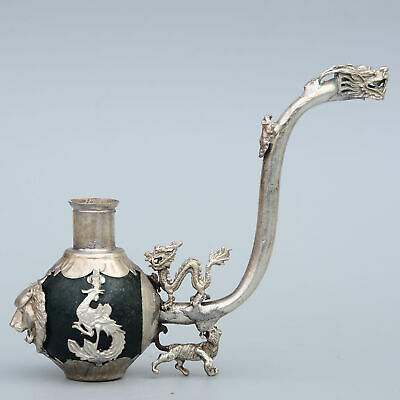 Collect Old Miao Silver Armour Agate Hand-Carved Myth Dragon Luck Tobacco Pipe