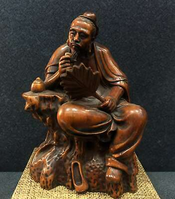 Collectable China Old Boxwood Hand-Carved Immortal Moral Bring Luck Decor Statue
