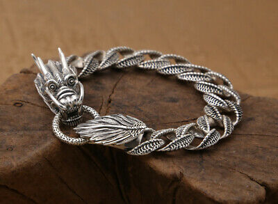 Old S925 Sterling Silver Jewelry Hand Carved Dragon Exorcism Bring Luck Bracelet