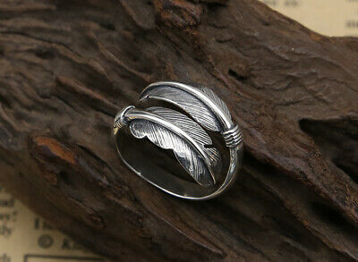 Collect Chinese Old S925 Sterling Silver Hand-Carved Delicate Luck Feather Ring
