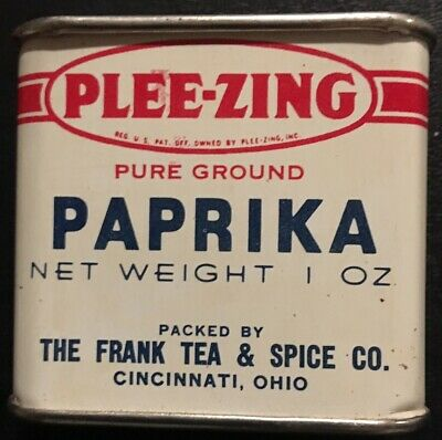 great colors FULL NEW old stock Vintage 1950s Plee-zing PAPRIKA 1 oz Spice tin