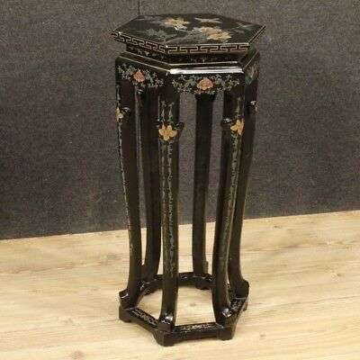 Column Table Furniture French Wooden Lacquered Chinoiserie Antique Style Living