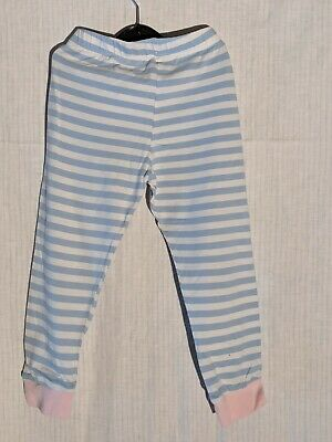 F&F Blue and White Striped with Pink Cuffs Leggins 4-5 years