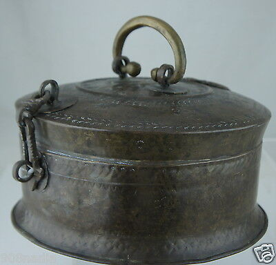 Antique Bronze Brass Lidded Box Vessel Chinese Indian Or Middle Eastern