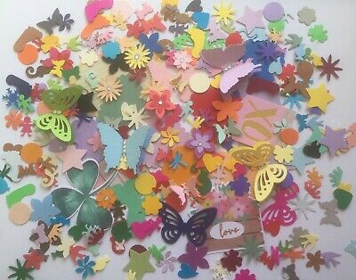 1000 Bulk Scrap Booking Punch / Die Cuts Mixed Cardstock Butterfly Hearts Animal