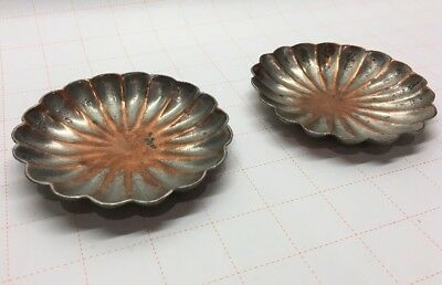 Antique Chinese Solid Copper Mini Bowl Ashtray Set Marked CHINA (2) Ashtrays