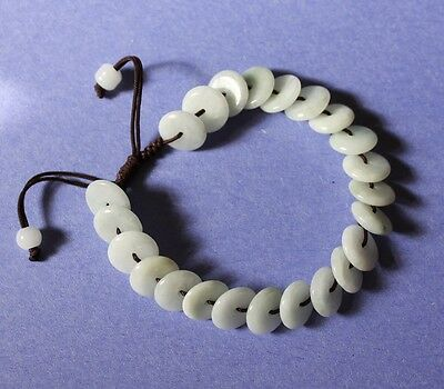 Gemstone 100% Natural Grade A Light Green Jadeite JADE Handmade Bracelet #A201