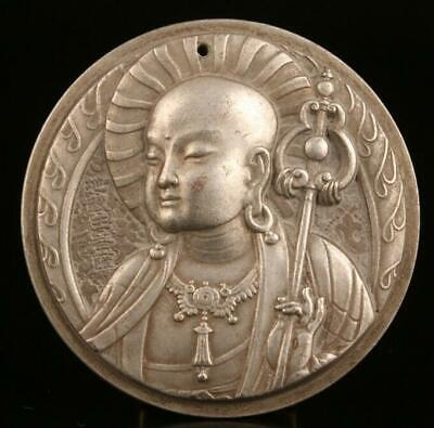 Buddhist china tibet silver pendant plate solid monk spiritual collection /Ta01