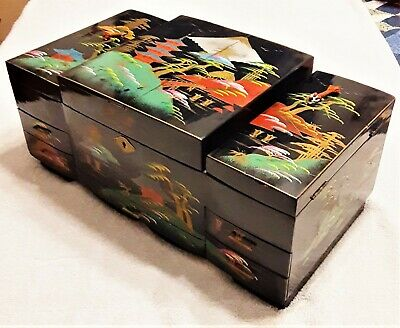 Vintage Antique Large Japanese Black Lacquer Jewelry Box, Good Condition
