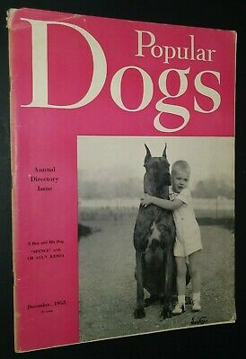 Popular Dogs Magazine Champion Great Dane Cover by Rudolph Tauskey Dec. 1955