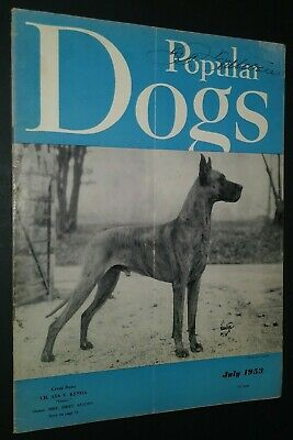 Popular Dogs Magazine Champion Great Dane Cover by Rudolph Tauskey July 1953