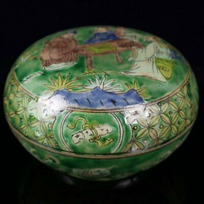 chinese old green glaze porcelain Hand painted ancients porcelain box /Wd01