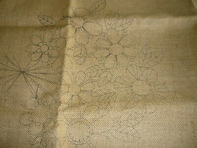 """Flowers""- 2 X Stamped Hessian Embroidery Cushion Covers"